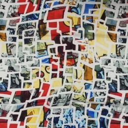 4fd0bb5cffd Foulard en soie à imprimé géométrique YF4690 Coloris Rouge